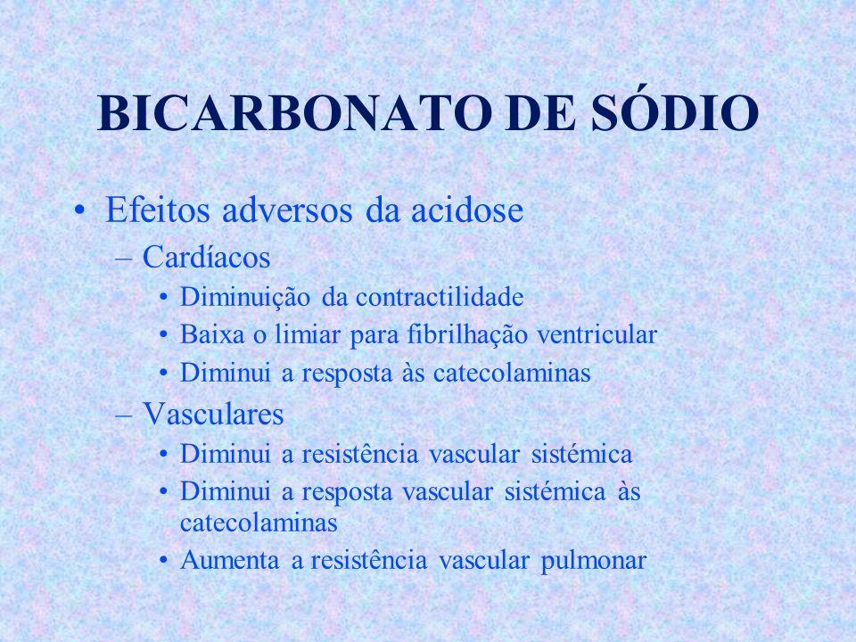 BICARBONATO DE SÓDIO Efeitos adversos da acidose Cardíacos Vasculares