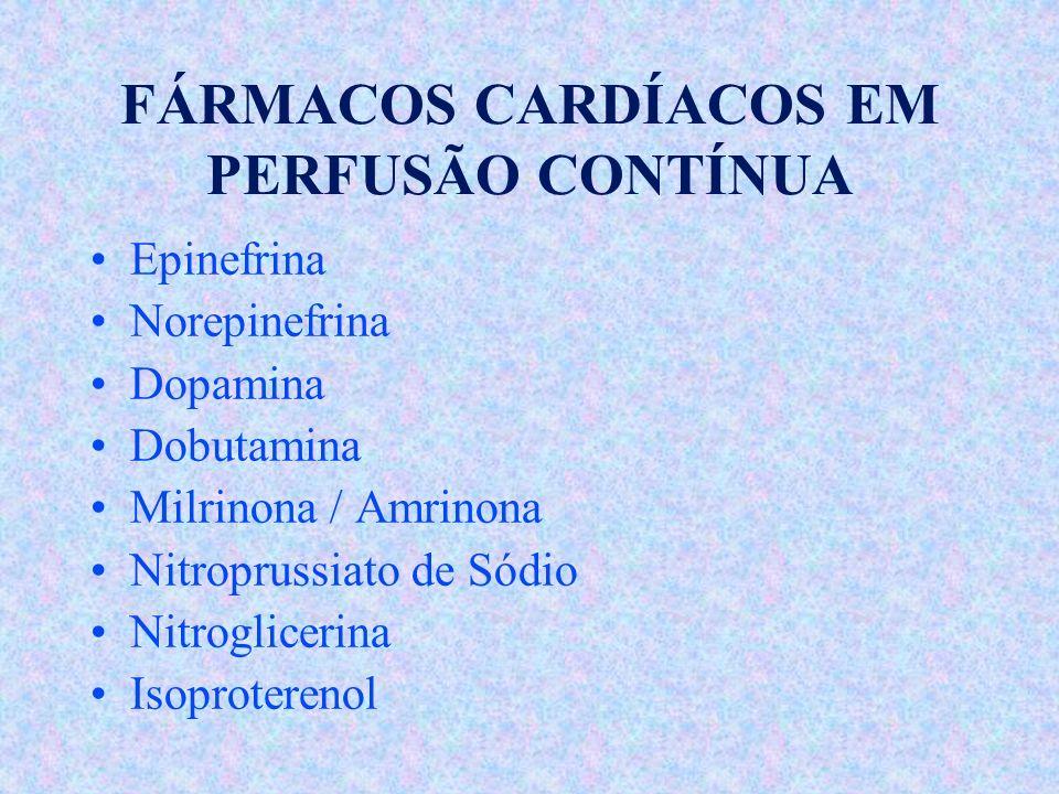 FÁRMACOS CARDÍACOS EM PERFUSÃO CONTÍNUA