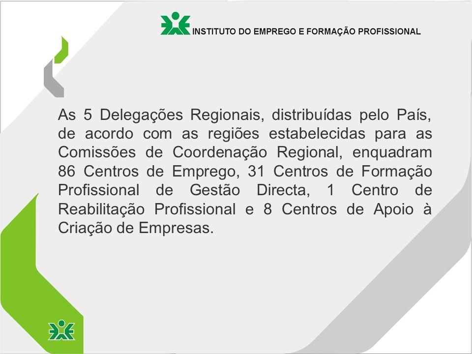 As 5 Delegações Regionais, distribuídas pelo País, de acordo com as regiões estabelecidas para as Comissões de Coordenação Regional, enquadram 86 Centros de Emprego, 31 Centros de Formação Profissional de Gestão Directa, 1 Centro de Reabilitação Profissional e 8 Centros de Apoio à Criação de Empresas.