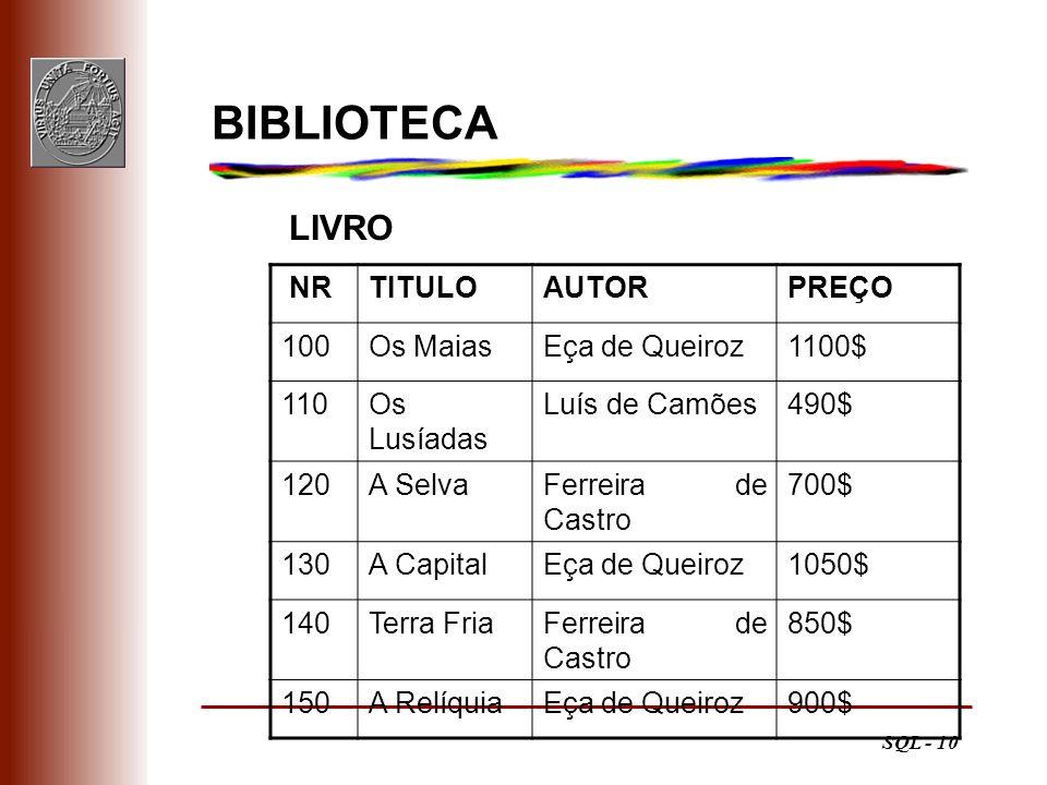 BIBLIOTECA LIVRO NR TITULO AUTOR PREÇO 100 Os Maias Eça de Queiroz