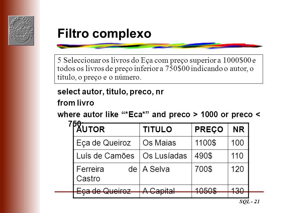 Filtro complexo