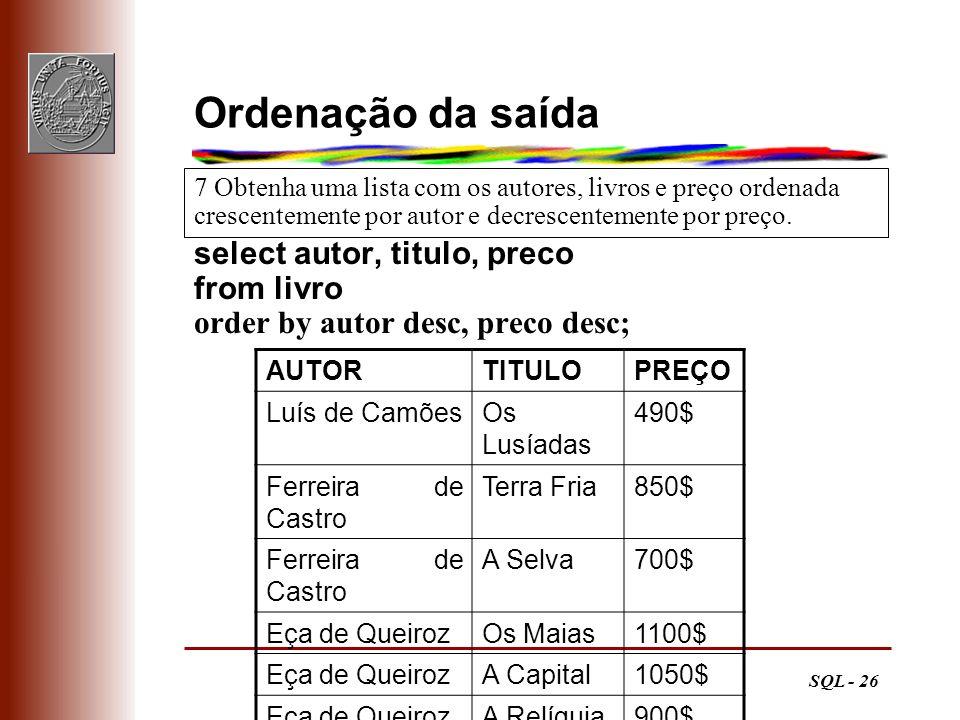Ordenação da saída select autor, titulo, preco from livro