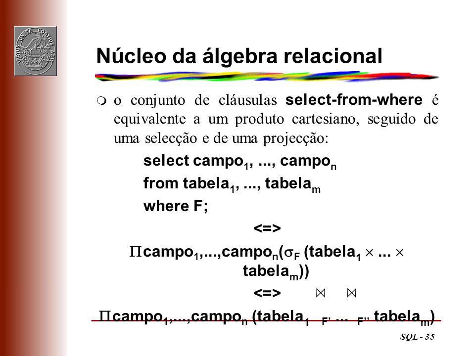 Núcleo da álgebra relacional