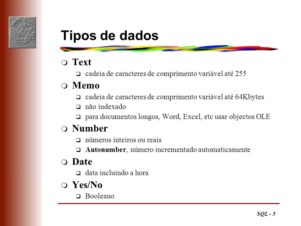 Tipos de dados Text Memo Number Date Yes/No