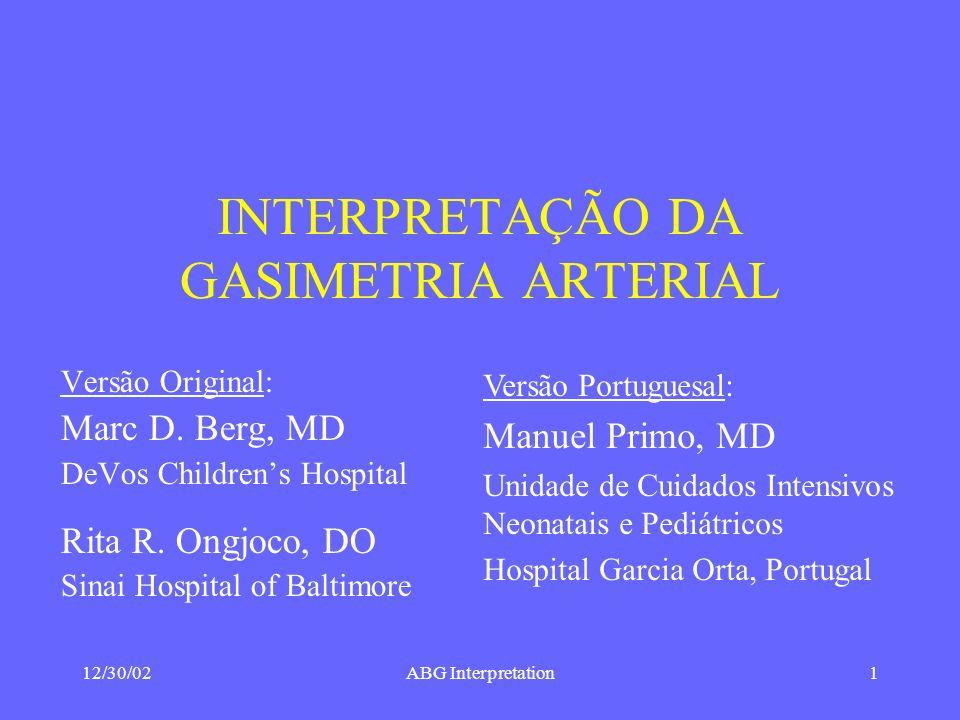 INTERPRETAÇÃO DA GASIMETRIA ARTERIAL