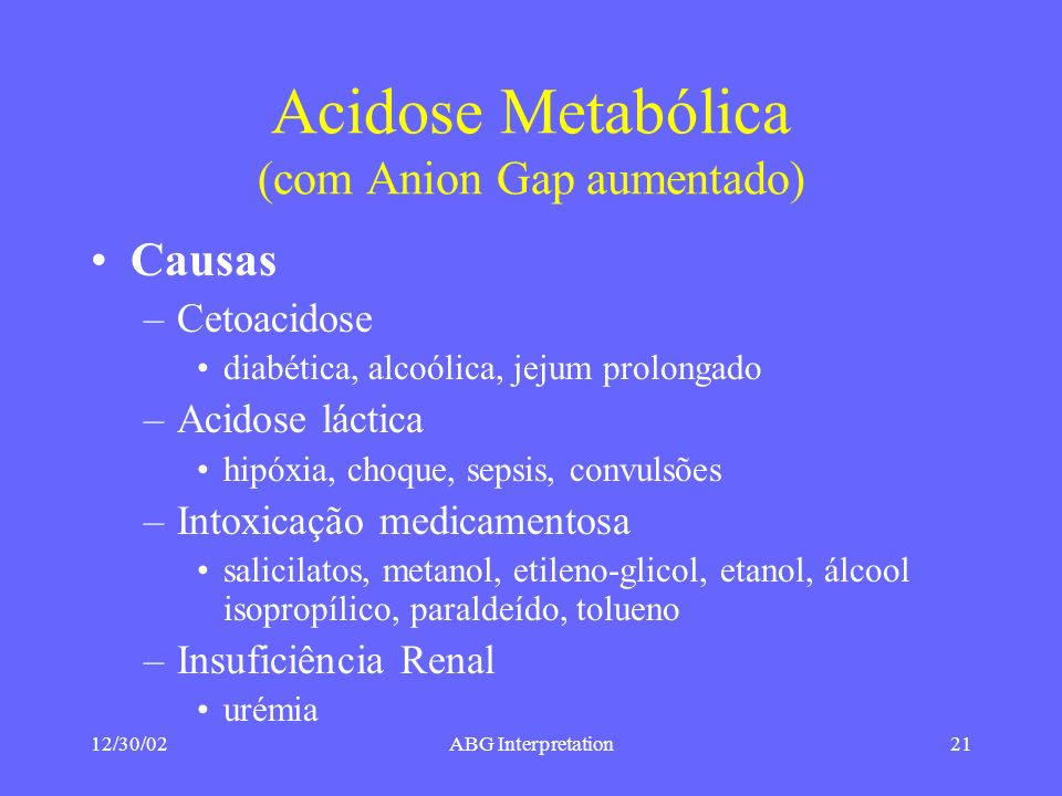 Acidose Metabólica (com Anion Gap aumentado)