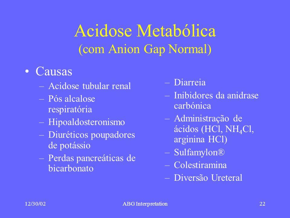 Acidose Metabólica (com Anion Gap Normal)