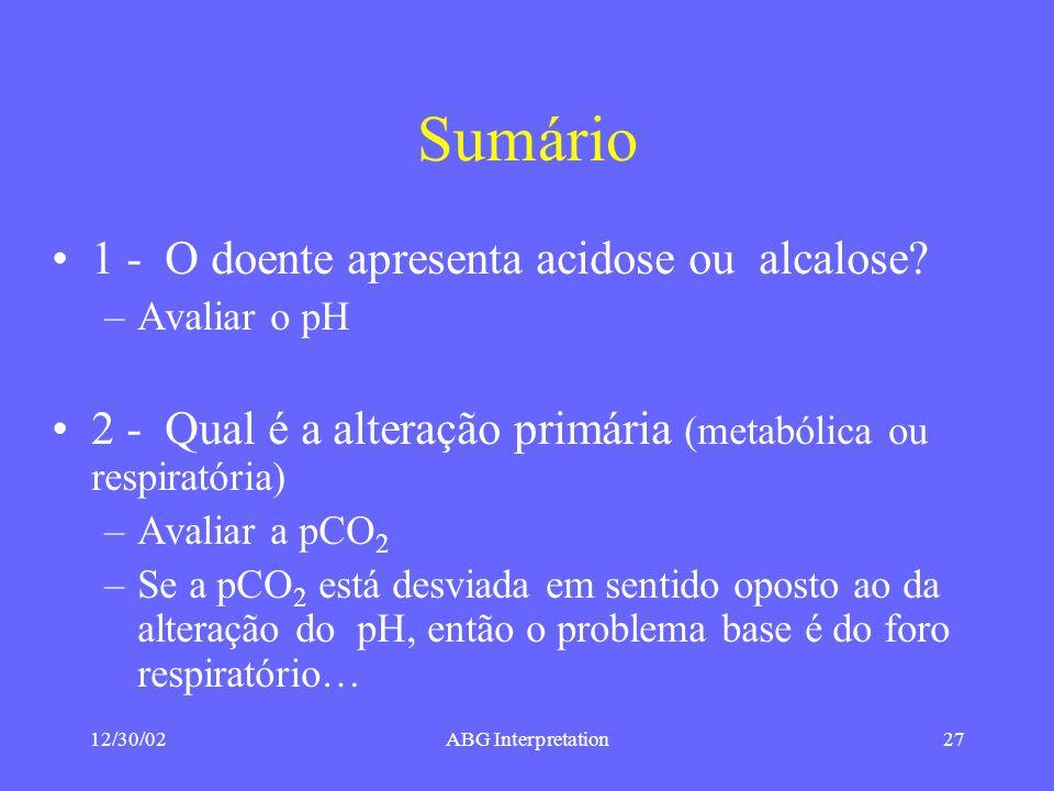 Sumário 1 - O doente apresenta acidose ou alcalose