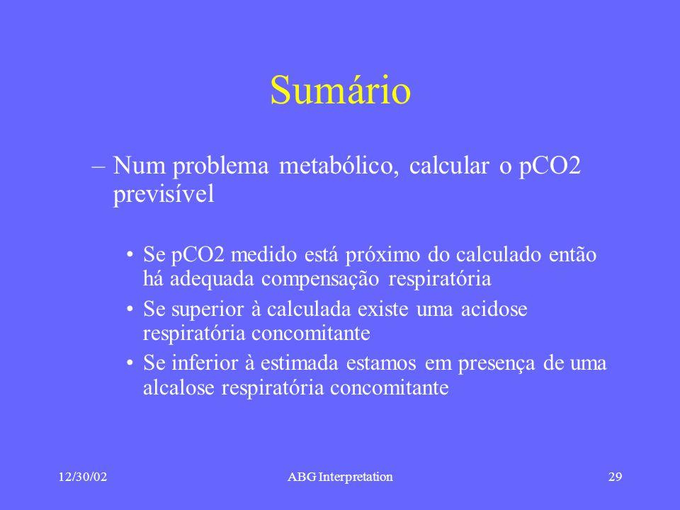 Sumário Num problema metabólico, calcular o pCO2 previsível
