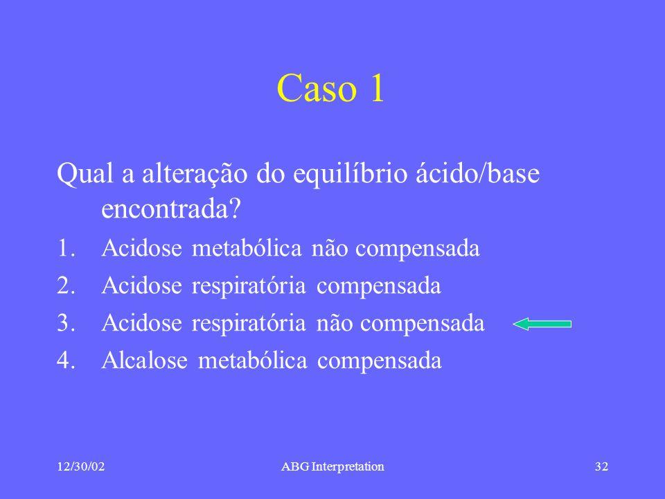 Caso 1 Qual a alteração do equilíbrio ácido/base encontrada