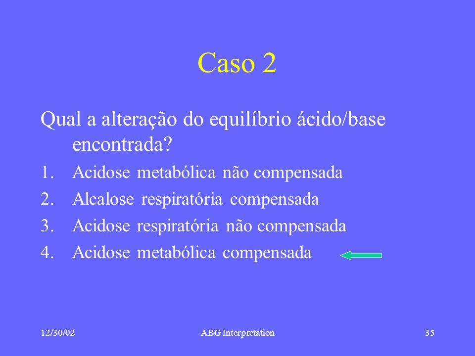 Caso 2 Qual a alteração do equilíbrio ácido/base encontrada