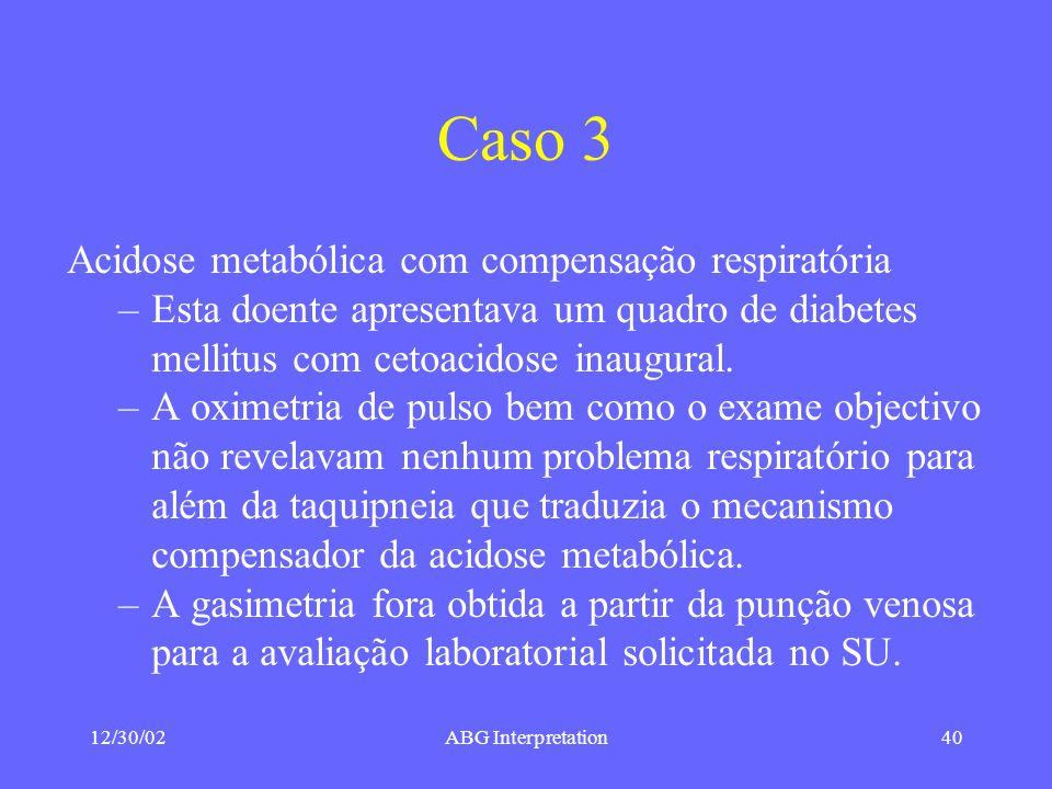 Caso 3 Acidose metabólica com compensação respiratória