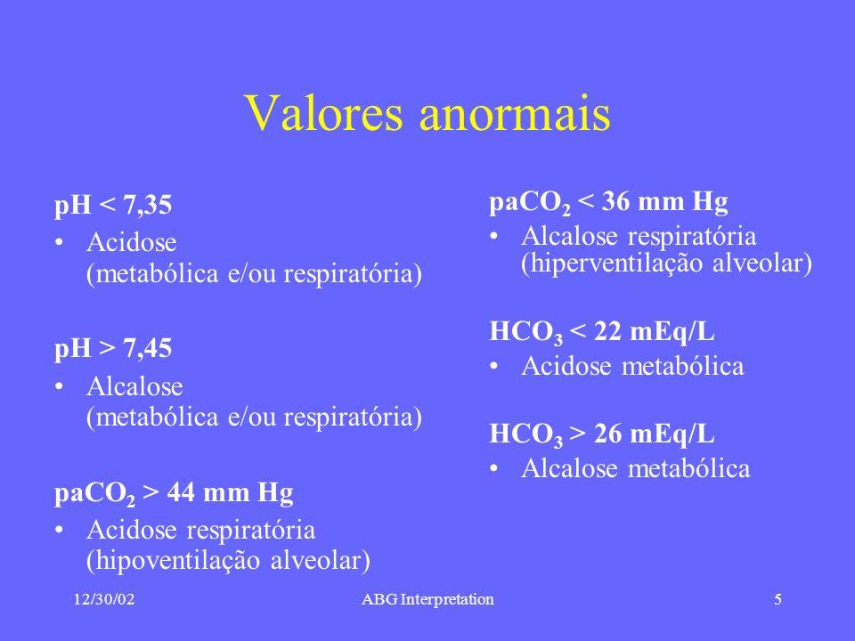 Valores anormais pH < 7,35 Acidose (metabólica e/ou respiratória)
