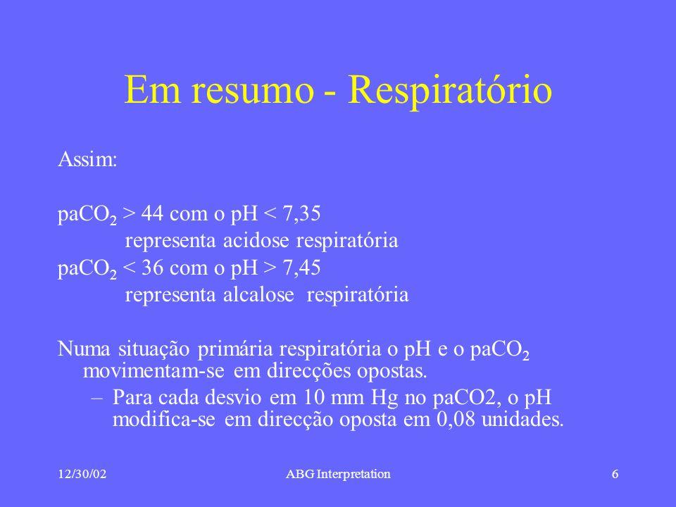 Em resumo - Respiratório