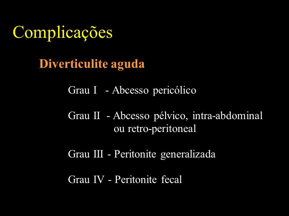 Complicações Diverticulite aguda Grau I - Abcesso pericólico