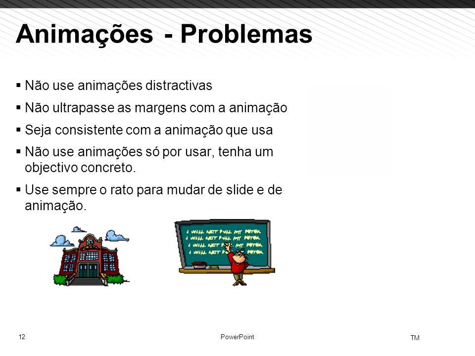 Animações - Problemas Não use animações distractivas