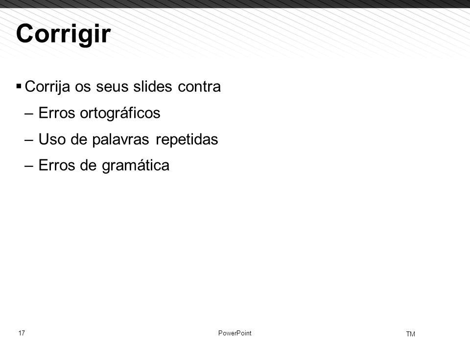 Corrigir Corrija os seus slides contra Erros ortográficos