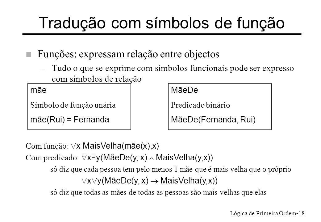 Tradução com símbolos de função