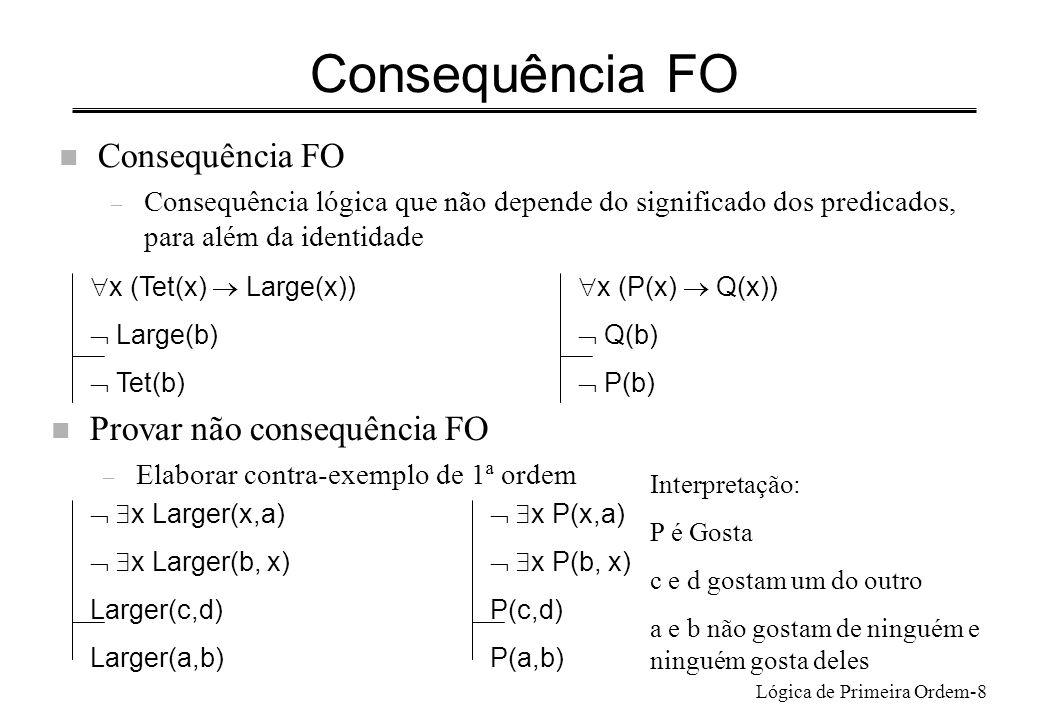 Consequência FO Consequência FO Provar não consequência FO
