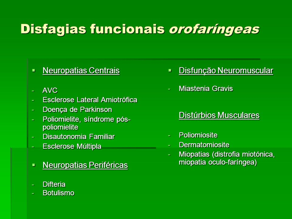Disfagias funcionais orofaríngeas