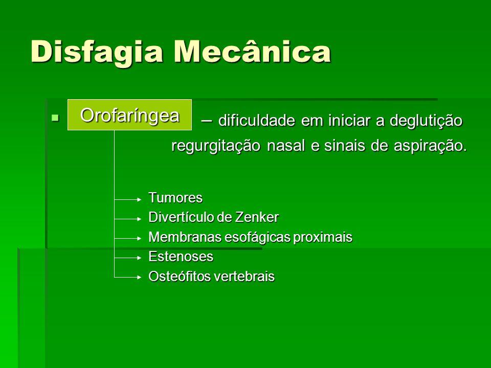 Disfagia Mecânica – dificuldade em iniciar a deglutição Orofaríngea