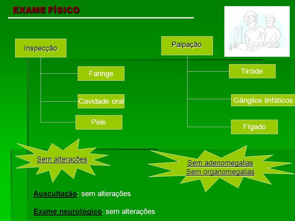 EXAME FÍSICO Palpação Inspecção Tiróide Faringe Cavidade oral
