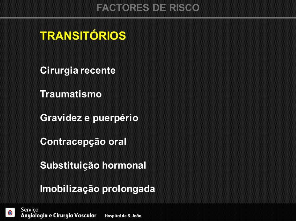 TRANSITÓRIOS FACTORES DE RISCO Cirurgia recente Traumatismo
