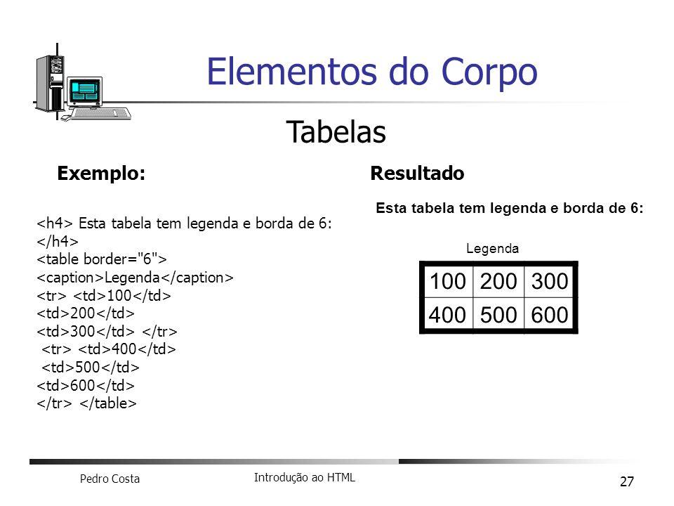 Elementos do Corpo Tabelas 100 200 300 400 500 600 Exemplo: Resultado