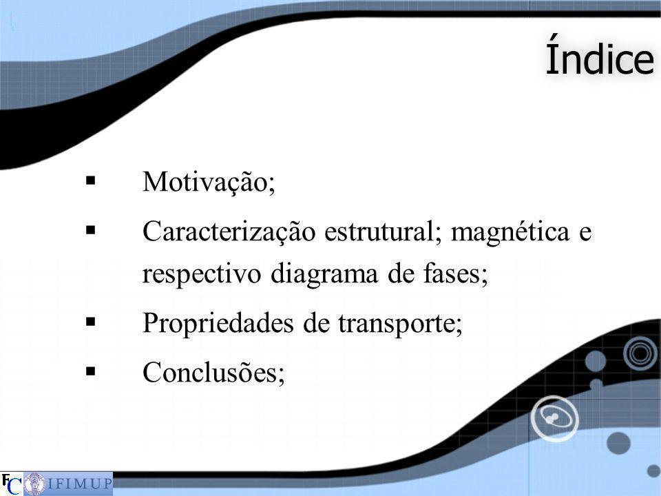 Índice Motivação; Caracterização estrutural; magnética e respectivo diagrama de fases; Propriedades de transporte;