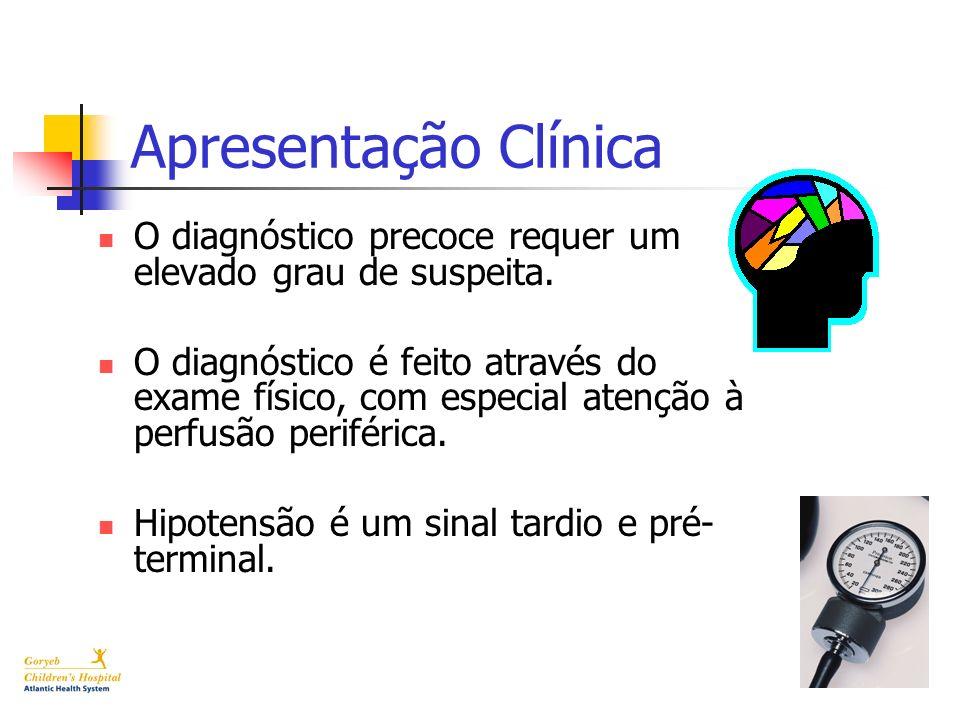 Apresentação Clínica O diagnóstico precoce requer um elevado grau de suspeita.