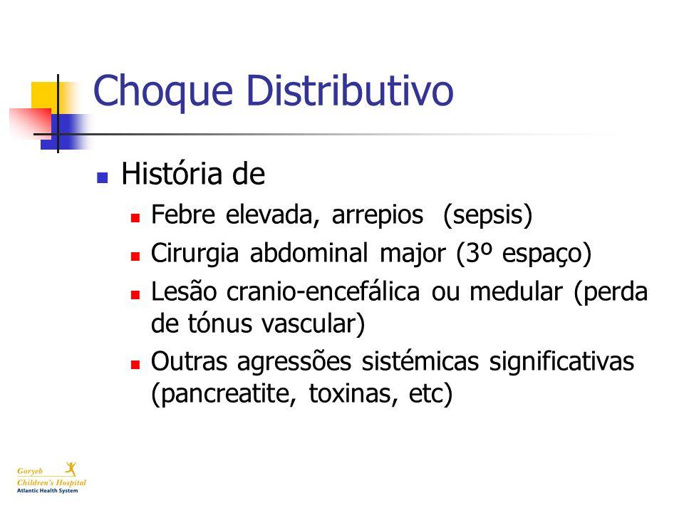 Choque Distributivo História de Febre elevada, arrepios (sepsis)