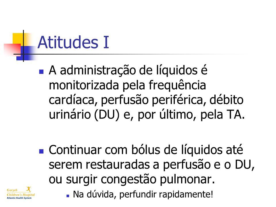 Atitudes I A administração de líquidos é monitorizada pela frequência cardíaca, perfusão periférica, débito urinário (DU) e, por último, pela TA.