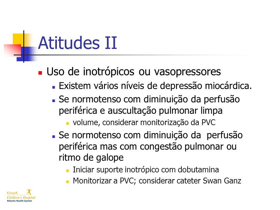 Atitudes II Uso de inotrópicos ou vasopressores