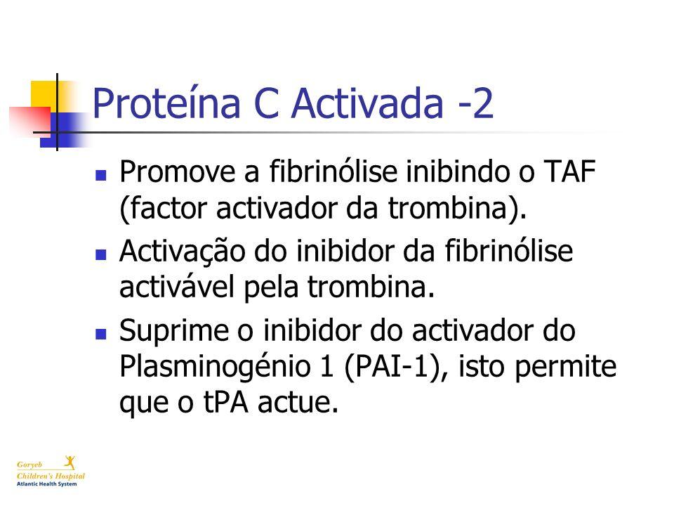 Proteína C Activada -2 Promove a fibrinólise inibindo o TAF (factor activador da trombina).