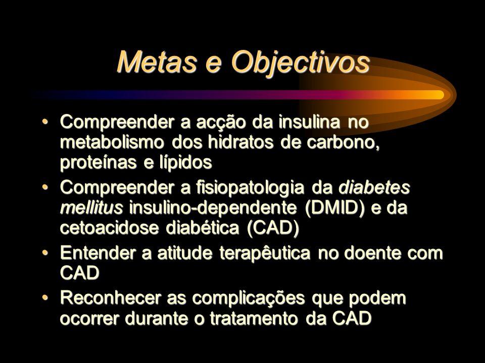 Metas e Objectivos Compreender a acção da insulina no metabolismo dos hidratos de carbono, proteínas e lípidos.