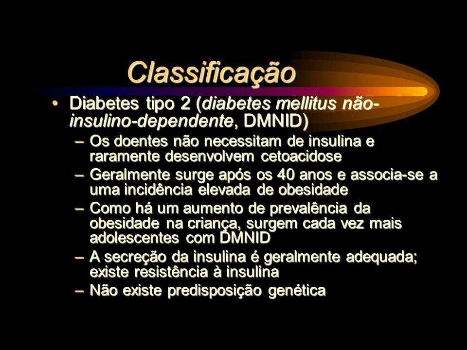 Classificação Diabetes tipo 2 (diabetes mellitus não-insulino-dependente, DMNID)