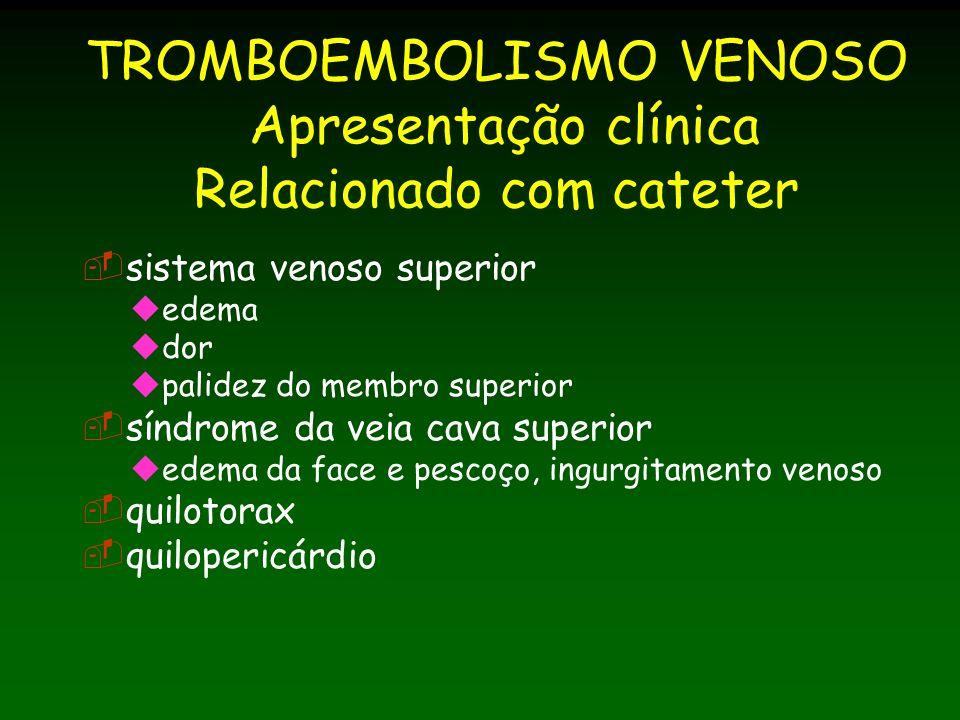 TROMBOEMBOLISMO VENOSO Apresentação clínica Relacionado com cateter