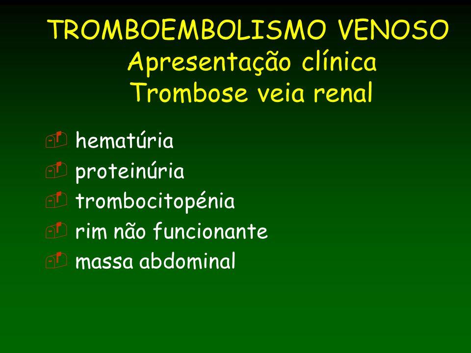 TROMBOEMBOLISMO VENOSO Apresentação clínica Trombose veia renal