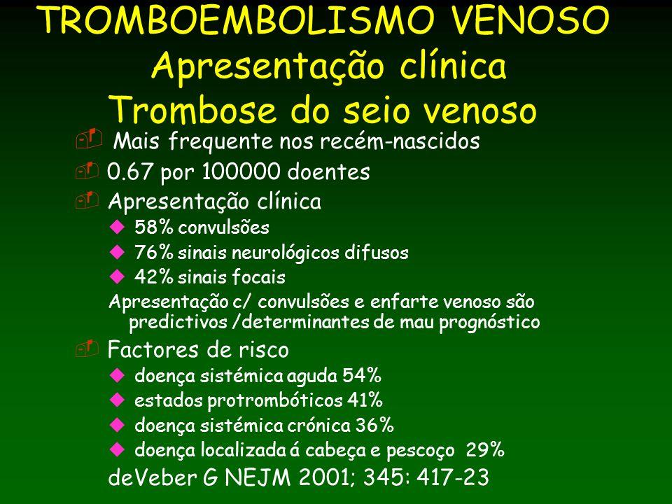 TROMBOEMBOLISMO VENOSO Apresentação clínica Trombose do seio venoso