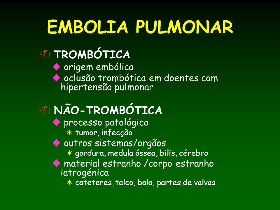 EMBOLIA PULMONAR TROMBÓTICA NÃO-TROMBÓTICA origem embólica