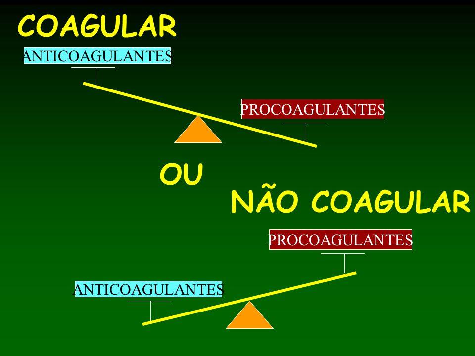 COAGULAR OU NÃO COAGULAR ANTICOAGULANTES PROCOAGULANTES PROCOAGULANTES