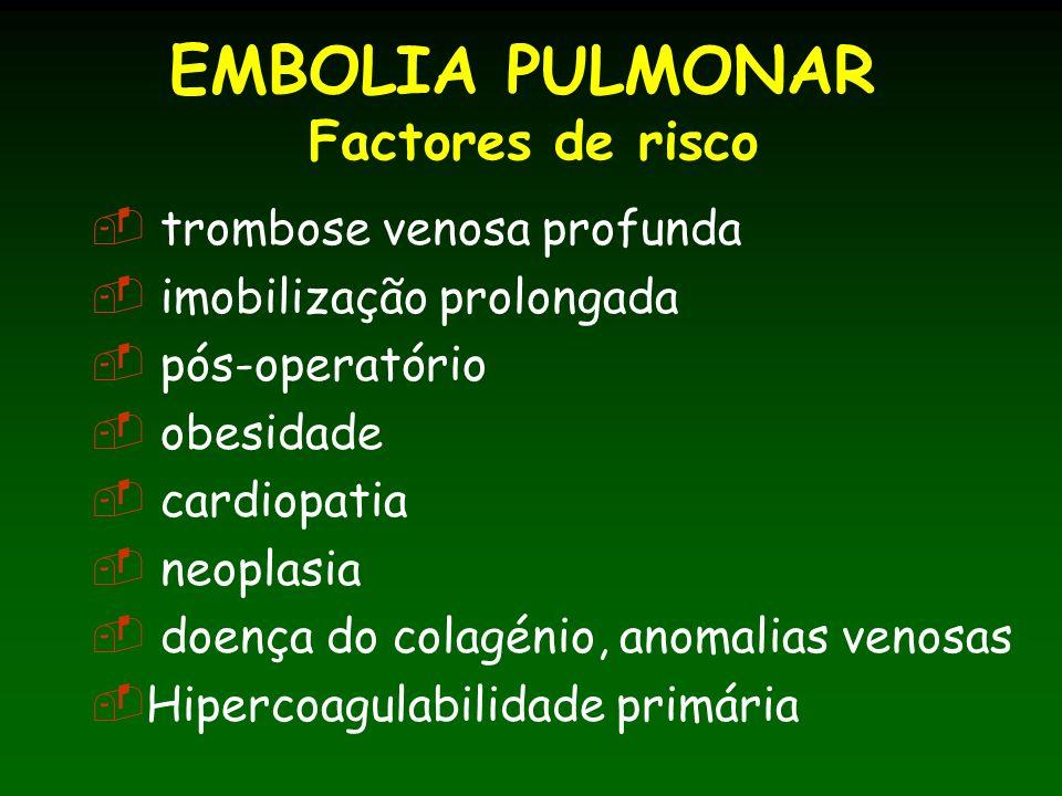 EMBOLIA PULMONAR Factores de risco