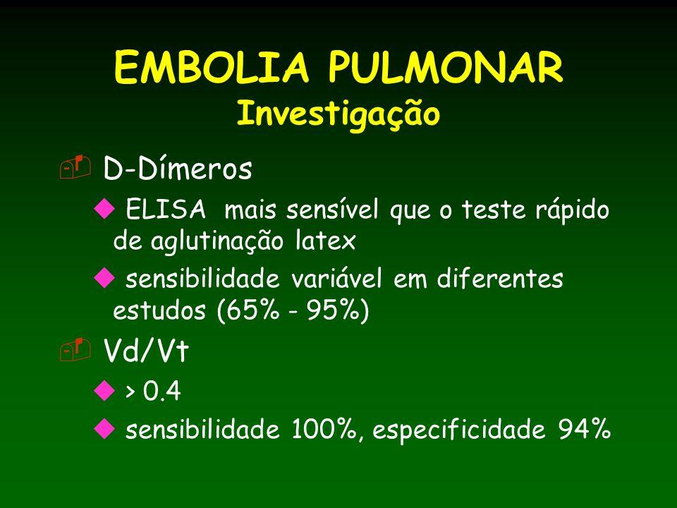 EMBOLIA PULMONAR Investigação