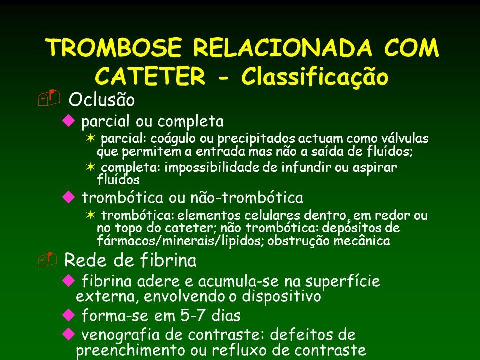 TROMBOSE RELACIONADA COM CATETER - Classificação