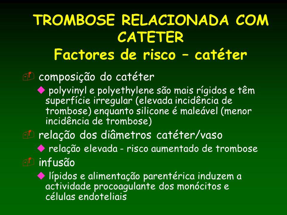 TROMBOSE RELACIONADA COM CATETER Factores de risco – catéter