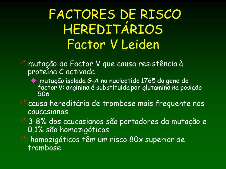 FACTORES DE RISCO HEREDITÁRIOS Factor V Leiden