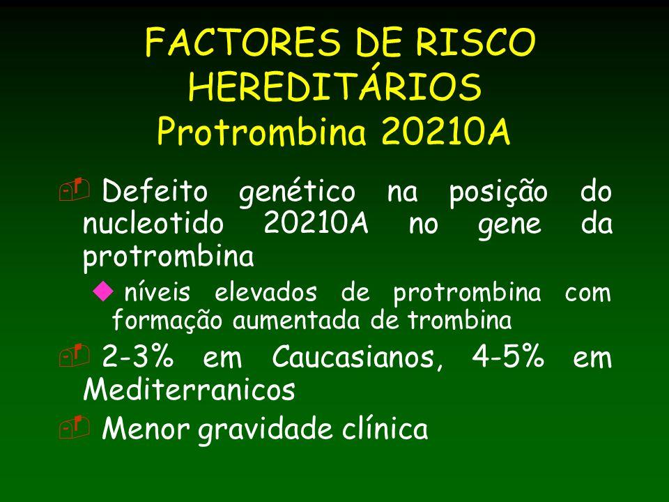FACTORES DE RISCO HEREDITÁRIOS Protrombina 20210A