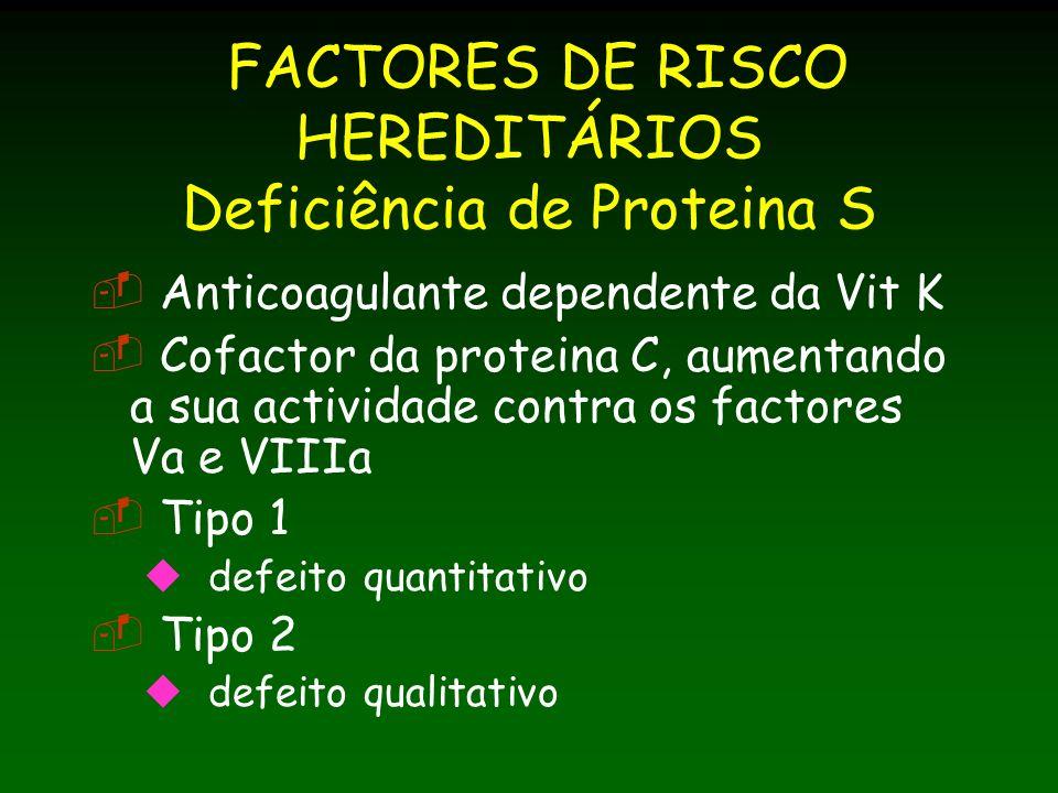 FACTORES DE RISCO HEREDITÁRIOS Deficiência de Proteina S