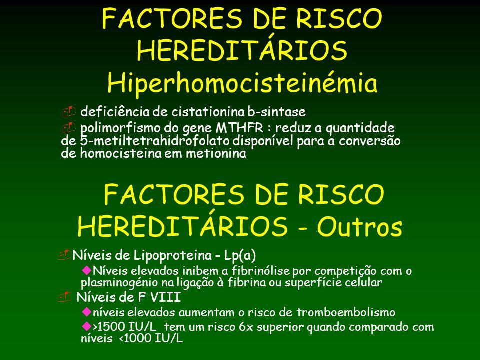 FACTORES DE RISCO HEREDITÁRIOS Hiperhomocisteinémia