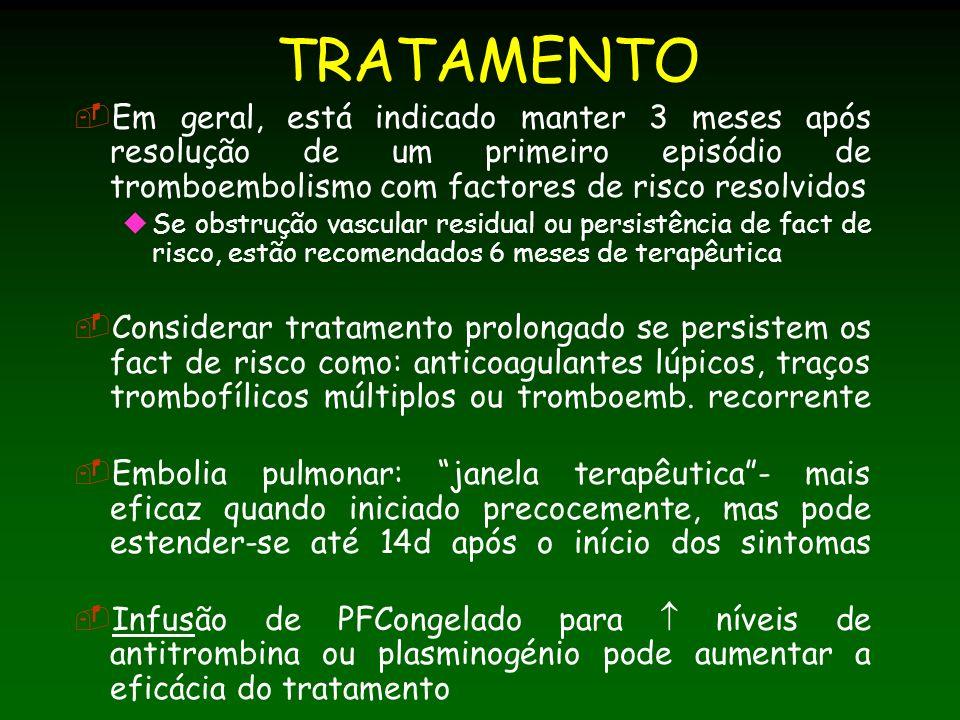 TRATAMENTO Em geral, está indicado manter 3 meses após resolução de um primeiro episódio de tromboembolismo com factores de risco resolvidos.